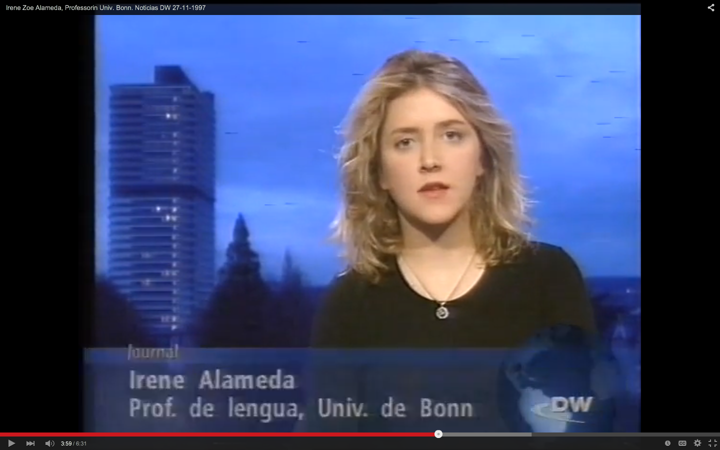 Irene Zoe Alameda, Professor at Bonn University. DW News 27-11-1997