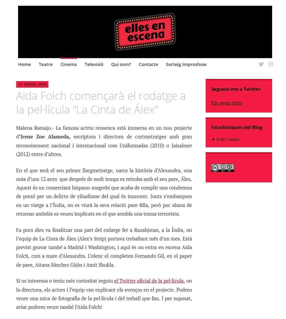 """Aida Folch començarà el rodatge a la pel·lícula """"La Cinta de Álex"""""""