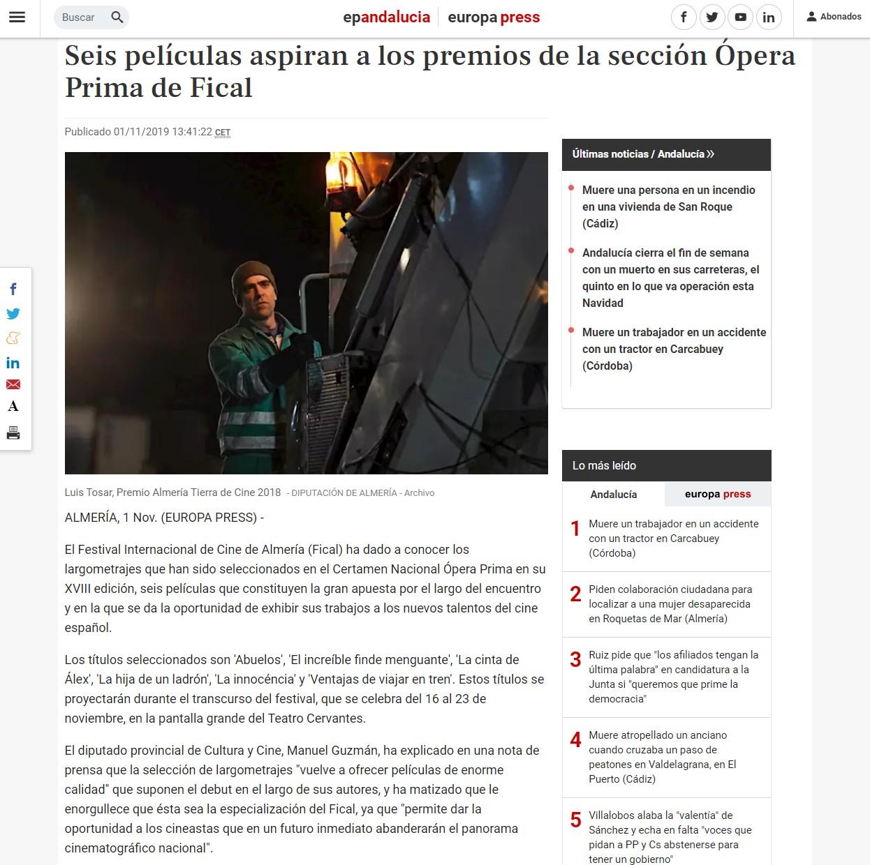 Seis películas aspiran a los premios de la sección Ópera Prima de Fical
