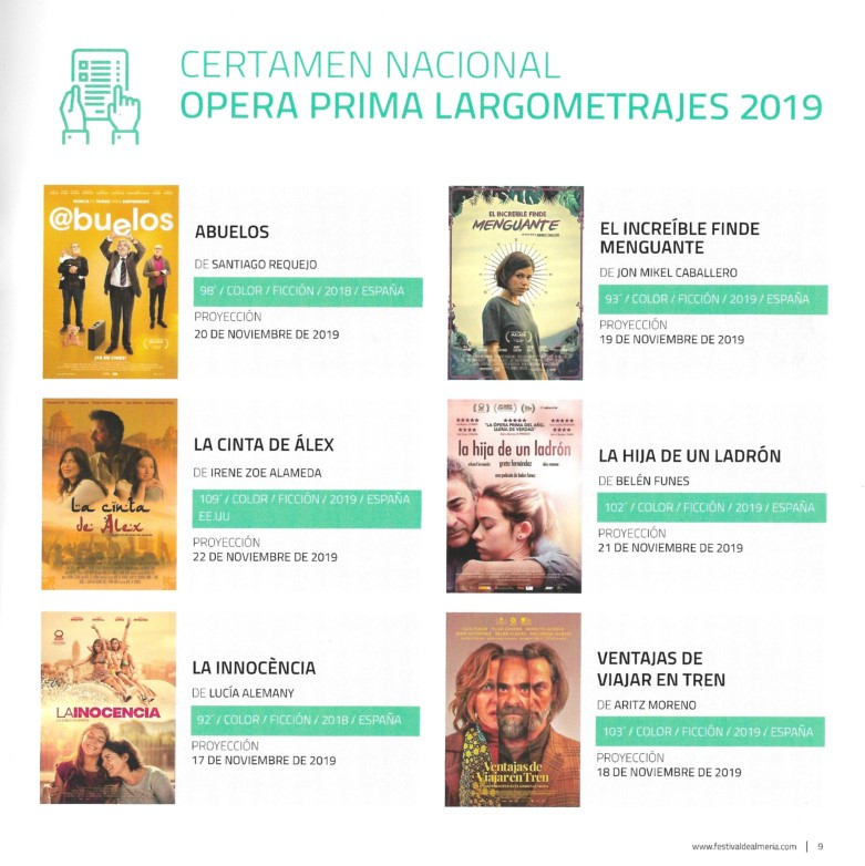 Certamen Nacional Opera Prima Largometrajes 2019