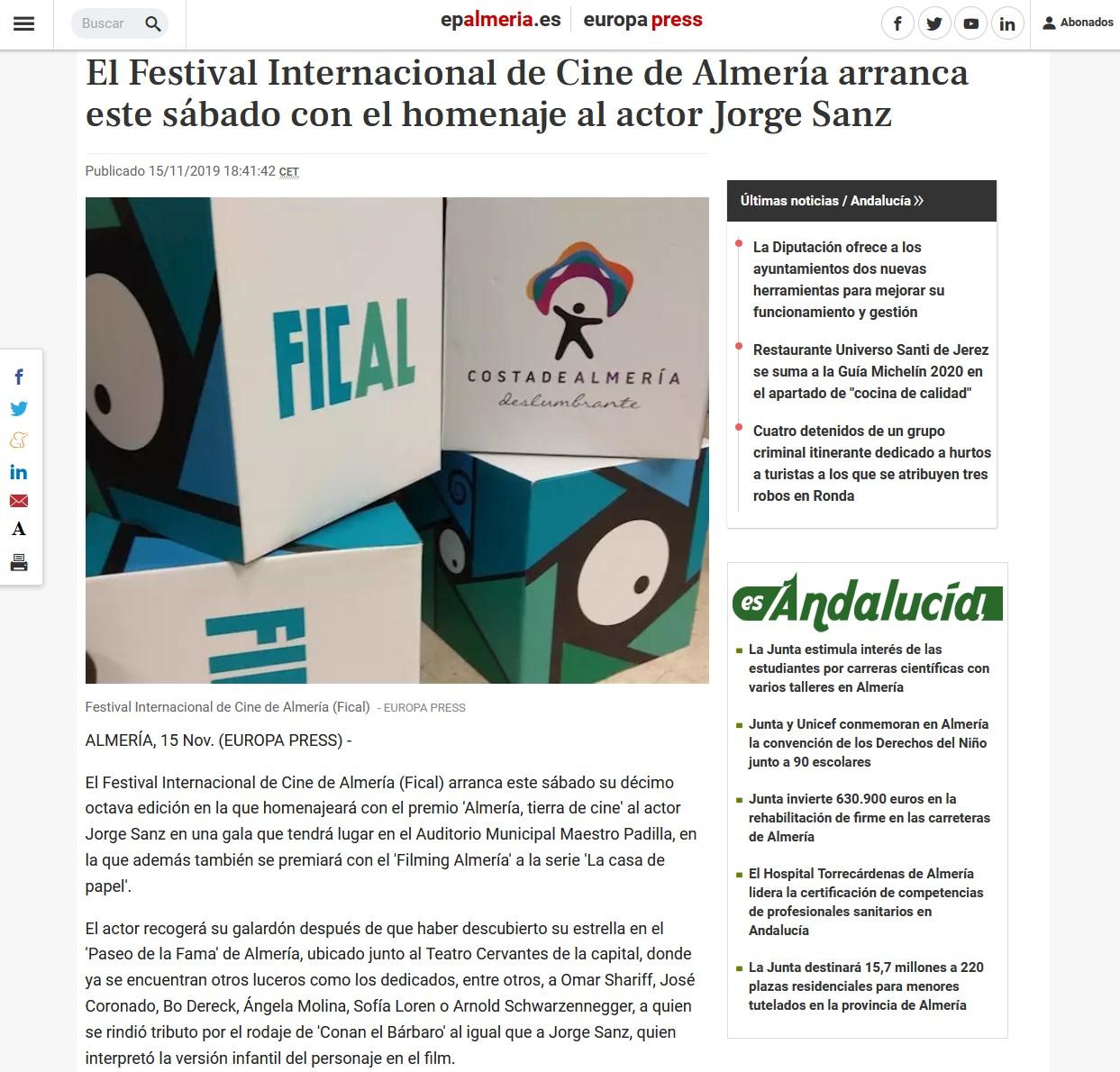 El Festival Internacional de Cine de Almería arranca este sábado con el homenaje al actor Jorge Sanz