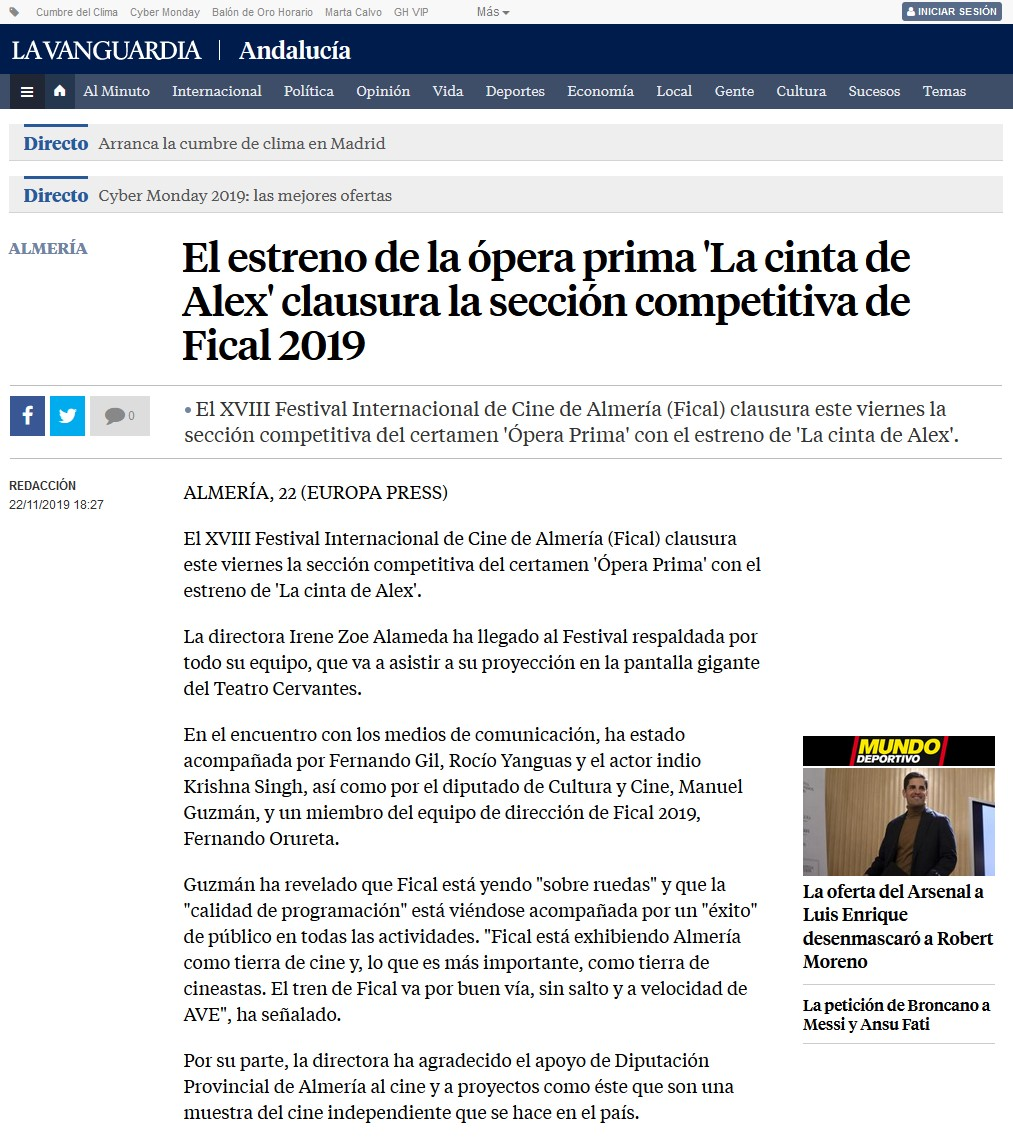 El estreno de la ópera prima 'La cinta de Alex' clausura la sección competitiva de Fical 2019