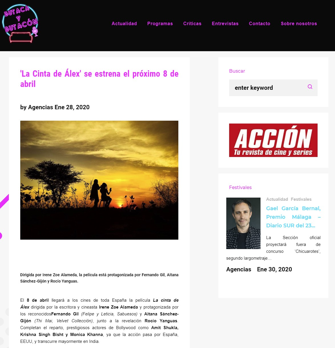 'La Cinta de Álex' se estrena el próximo 8 de abril