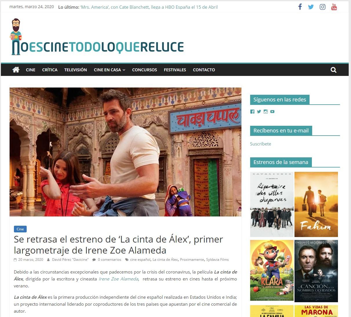 Se retrasa el estreno de 'La cinta de Álex', primer largometraje de Irene Zoe Alameda