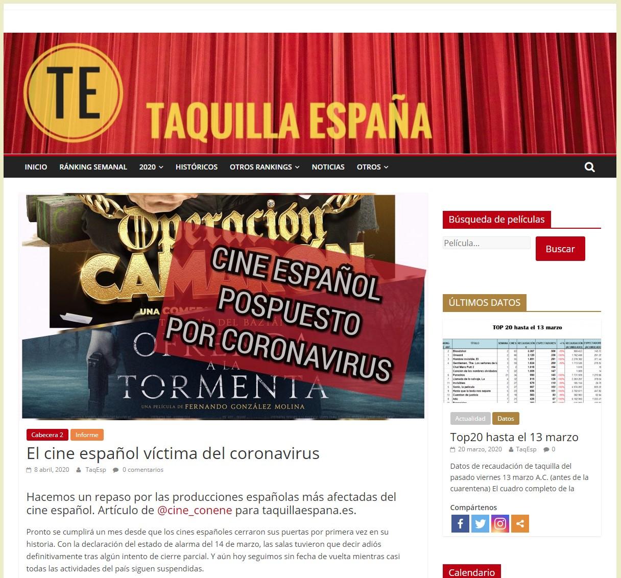El cine español víctima del coronavirus