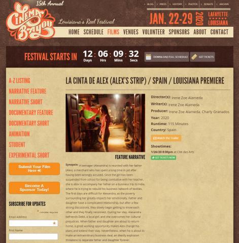 La cinta de Álex en el Festival de Louisiana
