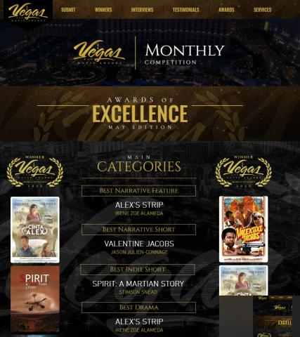 LA CINTA DE ÁLEX gana 10 premios en los Vegas Movie Awards