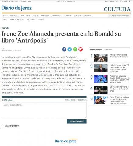 Irene Zoe Alameda presenta en la Bonald su libro 'Antrópolis'