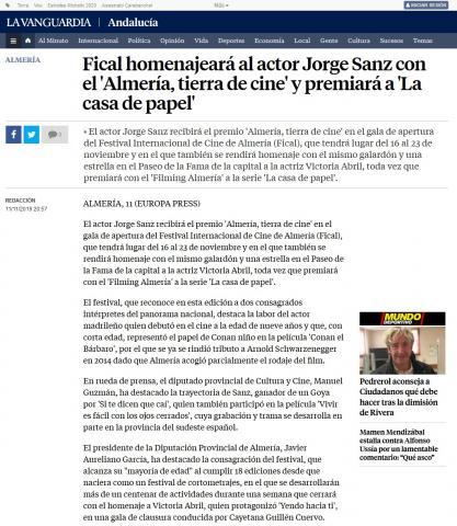 Fical homenajeará al actor Jorge Sanz con el 'Almería, tierra de cine' y premiará a 'La casa de papel'