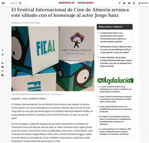 The International Film Festival of Almeria starts this Saturday with the tribute to actor Jorge Sanz