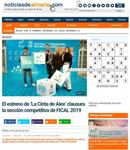 El estreno de 'La Cinta de Álex' clausura la sección competitiva de FICAL 2019