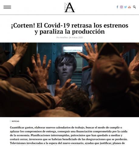 ¡Corten! El Covid-19 retrasa los estrenos y paraliza la producción