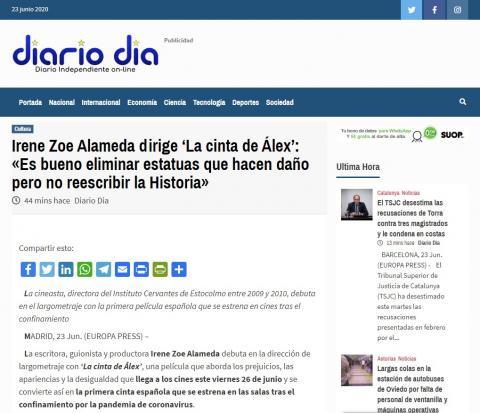 Irene Zoe Alameda dirige 'La cinta de Álex': «Es bueno eliminar estatuas que hacen daño pero no reescribir la Historia»