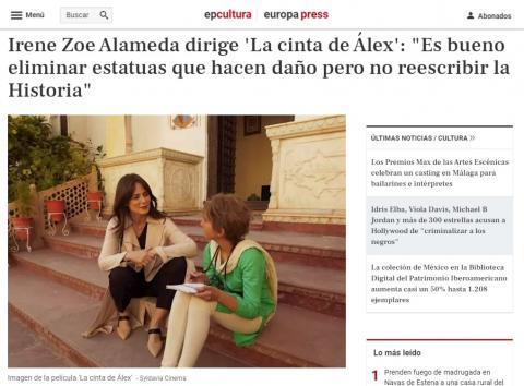 """Irene Zoe Alameda dirige 'La cinta de Álex': """"Es bueno eliminar estatuas que hacen daño pero no reescribir la Historia"""""""