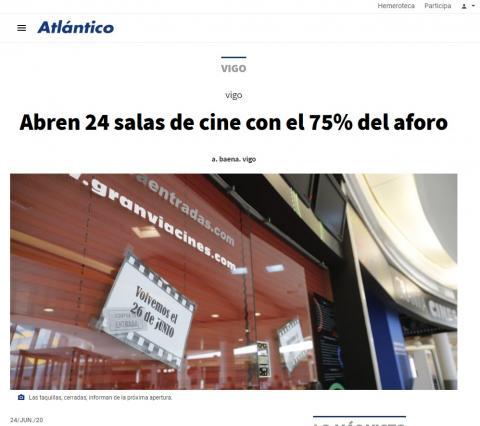 Abren 24 salas de cine con el 75% del aforo