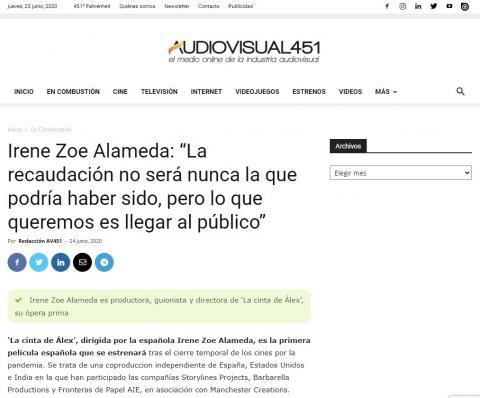 """Irene Zoe Alameda: """"La recaudación no será nunca la que podría haber sido, pero lo que queremos es llegar al público"""""""