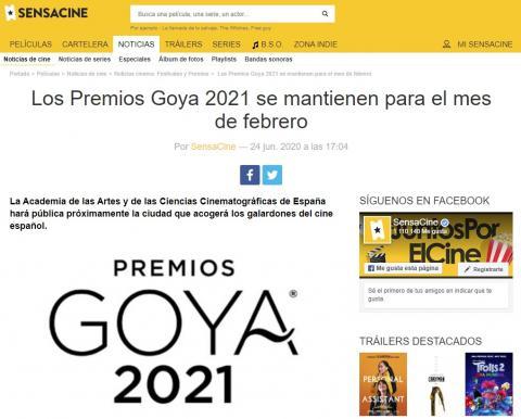 Los Premios Goya 2021 se mantienen para el mes de febrero