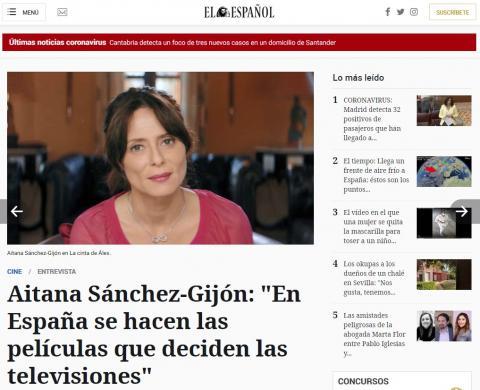 """Aitana Sánchez-Gijón: """"En España se hacen las películas que deciden las televisiones"""""""