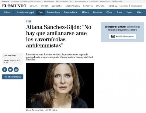 """Aitana Sánchez-Gijón: """"No hay que amilanarse ante los cavernícolas antifeministas"""""""