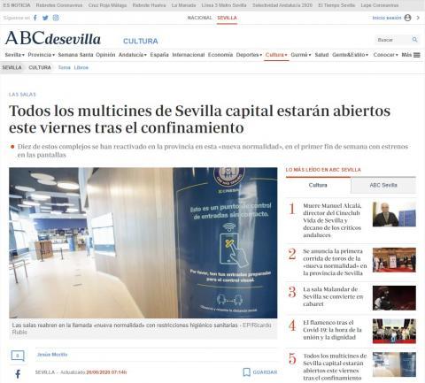 Todos los multicines de Sevilla capital estarán abiertos este viernes tras el confinamiento