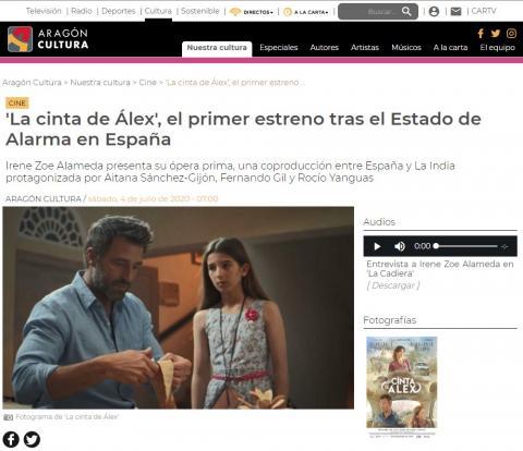 'La cinta de Álex', el primer estreno tras el Estado de Alarma en España