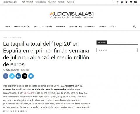 The total box office of the 'Top 20' in Spain in the first weekend of July did not reach half a million euros