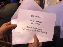 Ceremonia de entrega de premios WFA, 29-02-20. Best Actress Rocío Yanguas