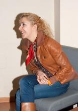 Irene Zoe Alameda durante una entrevista para la prensa de Sevilla