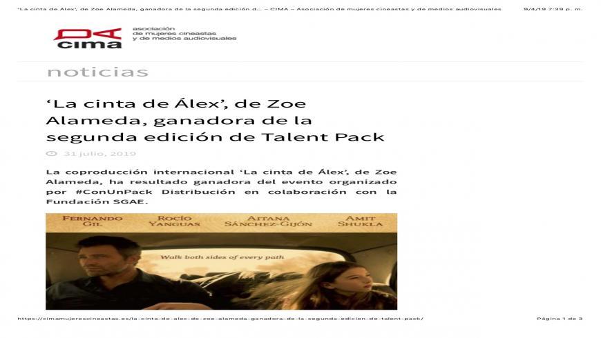 'La cinta de Álex', by Zoe Alameda, Winner of the Second Edition of The Talent Pack