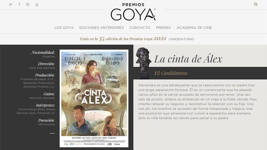 ALEX'S STRIP, candidate to 12 Goya Awards
